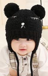 หมวกไหมพรมฟูหมีน้อยแต่งปอมปอม