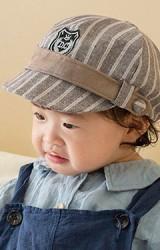 หมวกแก๊ปเด็กลายทาง คาดขอบ แต่งป้าย DC