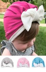 หมวกอินเดียกุ๊นขอบและโบว์ผูกสีขาว