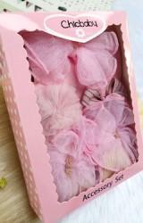 เซ็ตรับขวัญเซ็ต 4 ชิ้น โทนสีชมพู-โอลโรส ถุงเท้าและผ้าคาดผมโบว์ผ้าโปร่ง กิ๊บโบว์และกิ๊บดอกไม้