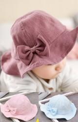 หมวกสาวน้อยปีกกว้างแต่งโบว์น่ารัก