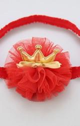 สายคาดผมมงกุฎระบายผ้าโปร่งสีแดง