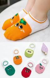 ถุงเท้าเด็กแบบข้อส้นปากตื้นลายผลไม้(C068)