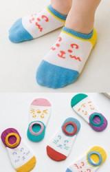 ถุงเท้าเด็กแบบข้อส้นปากตื้นลายหน้าการ์ตูนสลับสี(C071)