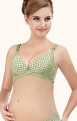 เสื้อชั้นในคนท้องเปิดให้นมลูกเกรดพรีเมี่ยม สีเขียวลายแต่งลูกไม้ดูสวยหรู คัพ B C