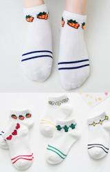 ถุงเท้าเด็กข้อสั้นสีขาวลายขอบน่ารักๆ  ไม่มีกันลื่น (C075)