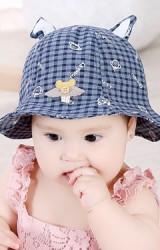 หมวกเด็กหญิงลายตารางลาย monkey หูเสริมโครงดัดทรงได้