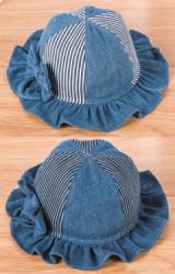 หมวกยีนส์แต่งโบว์ ปีกหมวกระบายน่ารัก