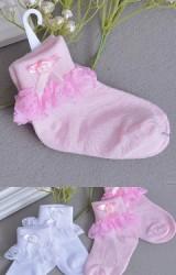 ถุงเท้าสาวน้อยแต่งดอกไม้ผูกโบว์ใต้ขอบระบายลูกไม้หวาน