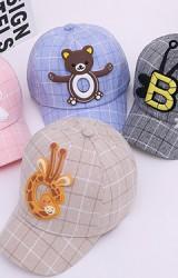 หมวกแก๊ปลายตารางแต่งการ์ตูนสัตว์น่ารัก