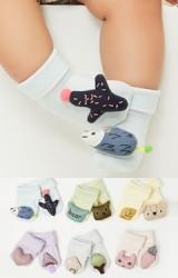 ถุงเท้าเด็กแต่งตุ๊กตานูนน่ารัก แบบข้อสั้น มีกันลื่น