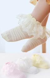 ถุงเท้าเด็กหญิงขอบระบายลูกไม้สวยหวาน
