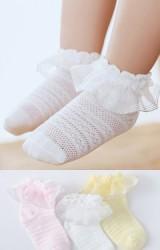 ถุงเท้าเด็กหญิงขอบระบายเหลือบเงิน