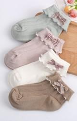 ถุงเท้าเด็กหญิงขอบพับแต่งโบว์เล็กน่ารัก