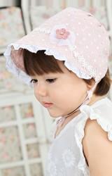 หมวกผูกคางสาวน้อยลายดอก แต่งดอกไม้น่ารัก