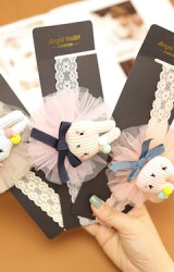 ผ้าคาดผมแต่งตุ๊กตากระต่ายผูกโบว์รองผ้าโปร่ง Angel Neitiri
