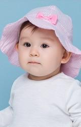 หมวกปีกรอบลายทางสีชมพูหวาน