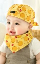 เซ็ตหมวกโจรสลัดและผ้ากันเปื้อนลายหมูน้อยสีเหลือง GZMM