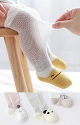 ถุงเท้าเด็กแบบยาว หน้าสัตว์น้อยน่ารัก ตัวถุงเท้าทอลายตาข่ายบาง