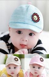 หมวกแก๊ปเด็กเล็กแต่งดอกทานตะวันยิ้ม TUTUYA