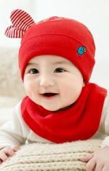 เซ็ตหมวกเด็กเล็กกระต่ายน้อยปักแครอทมาพร้อมผ้ากันเปื้อนแบบโค้ง GZMM