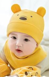 เซ็ตหมวกเด็กเล็กหมีน้อยน้อยน่ารักมาพร้อมผ้ากันเปื้อนแบบโค้ง