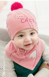 เซ็ตหมวกเด็กเล็กลาย CACTUS และจิ้งจอก พร้อมผ้ากันเปื้อน GZMM