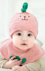 เซ็ตหมวก+ผ้ากันเปื้อนลายสตรอว์เบอร์รี สีชมพูพีช