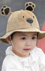 หมวกบักเก็ตหมีน้อยผ้าลูกฟูก ด้านบนแต่งเท้าหมี