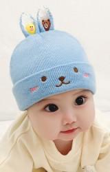 หมวกไหมพรมกระต่ายน้อย หูแต่งการ์ตูนหมีและเป็ด