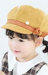 หมวกทรงนิวส์บอยลายจุดแต่งโบว์เล็กน่ารัก