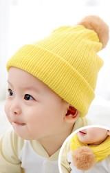 หมวกไหมพรมกันหนาวแต่งขนมิ้ง ปรับเป็นผ้าพันคอได้