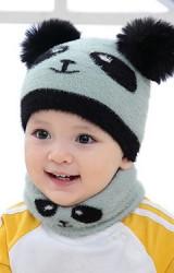 หมวกไหมพรมแพนด้าน่ารัก ไหมพรมฟูนุ่ม
