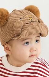 หมวกแก๊ปหมีน้อยหน้ายิ้มแต่งปอมปอมน่ารัก ผ้าลูกฟูก