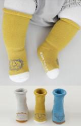 ถุงเท้าเด็กแบบหนาแพ็ค 3 คู่ 3 สี ลายสัตว์น่ารัก มีกันลื่น
