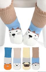 ถุงเท้าเด็กลายสัตว์แบบหนา กล่อง 4 คู่ ไม่มีกันลื่น
