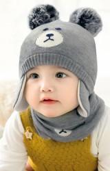 หมวกหมีน้อยแต่งปอมขนมิ้ง มีผ้าปิดช่วงแก้ม  GZMM