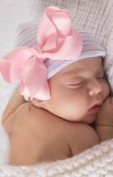 หมวกเด็กหญิงแรกเกิดแต่งโบว์บิดน่ารัก
