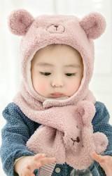 เซ็ตหมวกกันหนาวเด็กหมีน้อยขนฟูน่ารัก มาพร้อมผ้าพันคอ GZMM