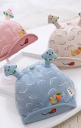 หมวกแก๊ปลายแตงโม ด้านหน้าแต่งกระต่ายและแครอท