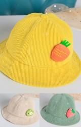 หมวก Bucket ผ้าลูกฟูกแต่งตุ๊กตาผลไม้
