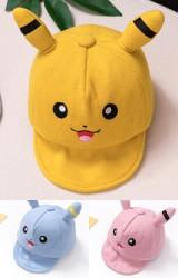 หมวกแก๊ปปิกาจู หมวกผ้าฟลีซหนานุ่ม