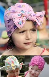 หมวกว่ายน้ำเด็กหญิงลายสวยผูกโบว์น่ารัก
