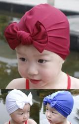 หมวกว่ายน้ำเด็กหญิงแบบสีพื้นผูกโบว์น่ารัก