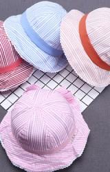 หมวกสาวน้อยลายทาง ขอบคาดแต่งโบว์ด้านหลัง