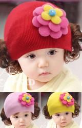 หมวกปอยผมแต่งดอกไม้สีสดใส