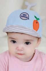 หมวกแก๊ปแต่งผลส้ม ปีกหมวกลายขวาง TUTUYA