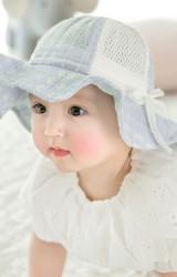 หมวกกันแดดสาวน้อย หมวกผ้าฝ้ายลายดอกสลับผ้าตาข่าย GZMM