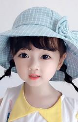 หมวกกันแดดเด็กหญิงผ้าลายตารางแต่งโบน่ารัก