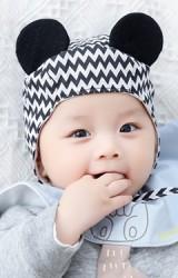 หมวกเด็กเล็กผูกคางมิกกี้ลายน่ารัก